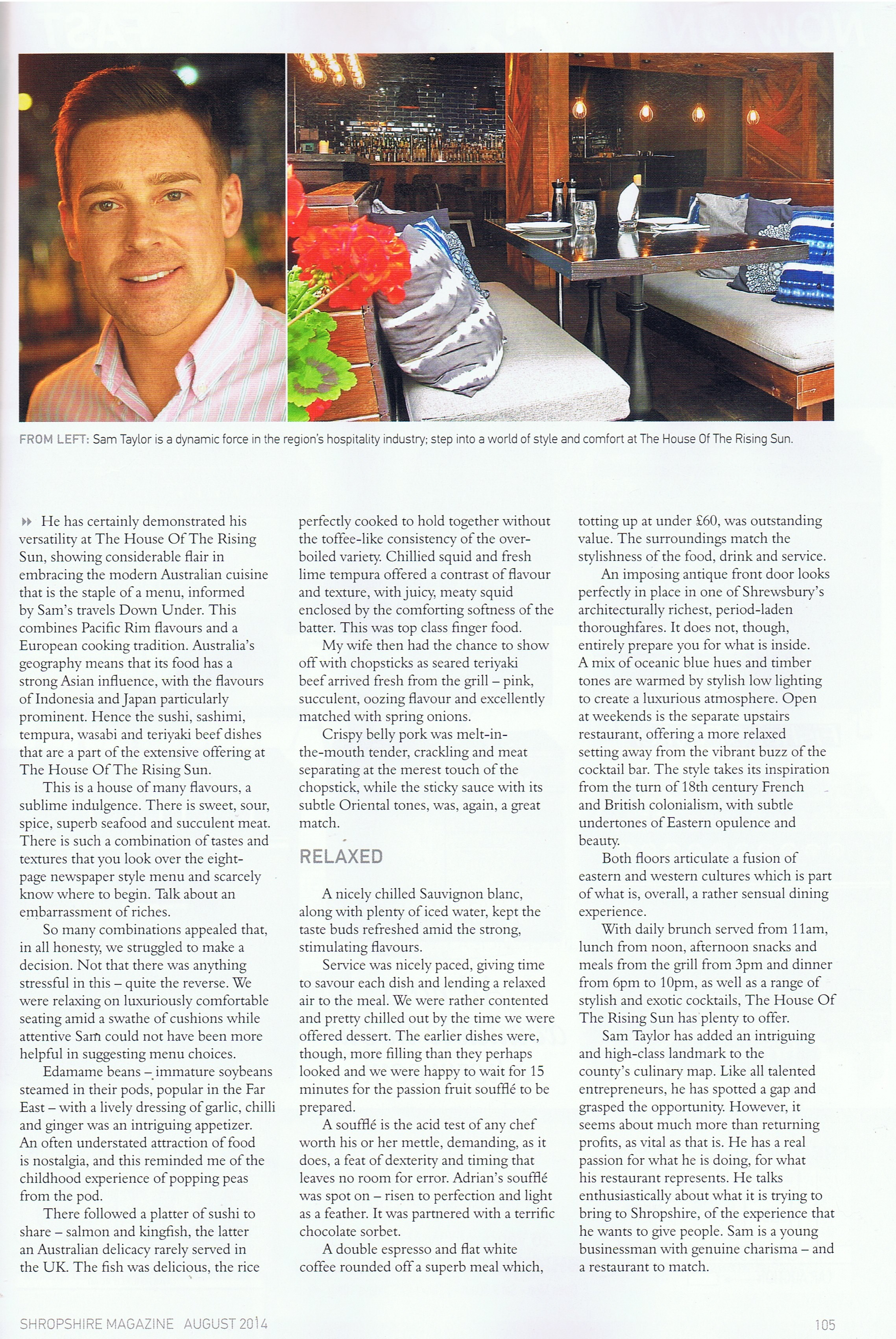 Connor PR specialist in launch and event PR has secured a fantastic review  in this month s Shropshire Magazine for client House of the Rising Sun f51c8ac9f