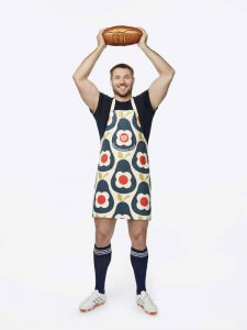 Ben Cohen wearing the Orla Kiely Sport Relief 2016 apron available from HomeSense and TK Maxx stores