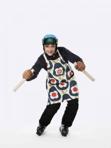 Graham Bell former Olympic skier and TV presenter, wearing the Orla Kiely Sport Relief 2016 apron available from HomeSense and TK Maxx stores