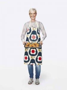 Judy Murray wearing the Orla Kiely Sport Relief 2016 apron available from HomeSense and TK Maxx stores
