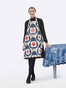 Orla Kiely wears the apron she designed for Sport Relief 2016 available from HomeSense and TK Maxx stores