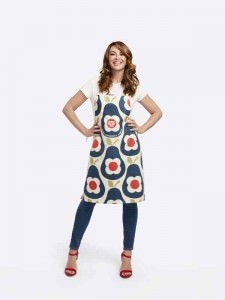 Suzi Perry wearing the Orla Kiely Sport Relief 2016 apron available from HomeSense and TK Maxx stores