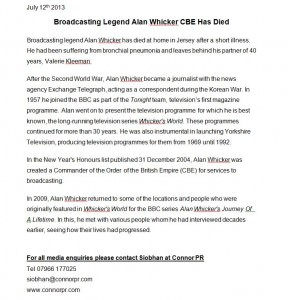 Alan Whicker Press Release 2014