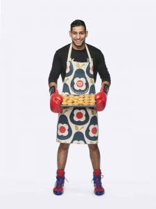 Amir Khan wearing the Orla Kiely Sport Relief 2016 apron available from HomeSense and TK Maxx stores