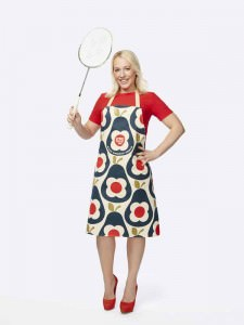 Gail Emms MBE wearing the Orla Kiely Sport Relief 2016 apron available from HomeSense and TK Maxx stores